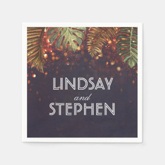 Beach Palms and String Lights Vintage Wedding Disposable Napkin