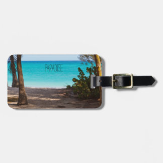 Beach Paradise Through Palm Trees Luggage Tag