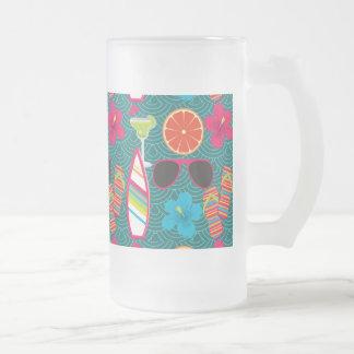 Beach Party Flip Flops Sunglasses Beach Ball Blue Frosted Glass Beer Mug