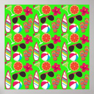 Beach Party Flip Flops Sunglasses Beach Ball Green Posters