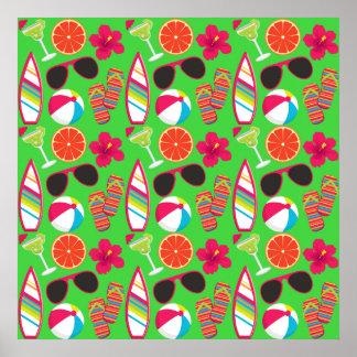 Beach Party Flip Flops Sunglasses Beach Ball Green Print