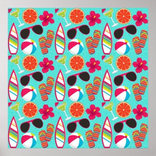 Beach Party Flip Flops Sunglasses Beach Ball Teal Print