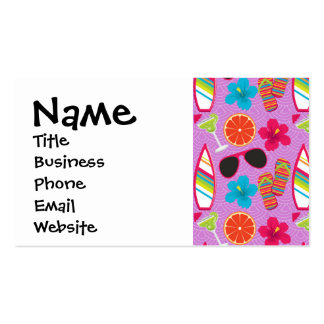 Beach Party Flip Flops Sunglasses Beachball Purple Double-Sided Standard Business Cards (Pack Of 100)
