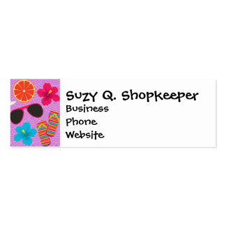 Beach Party Flip Flops Sunglasses Beachball Purple Double-Sided Mini Business Cards (Pack Of 20)