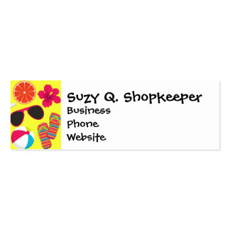 Beach Party Flip Flops Sunglasses BeachBall Yellow Double-Sided Mini Business Cards (Pack Of 20)