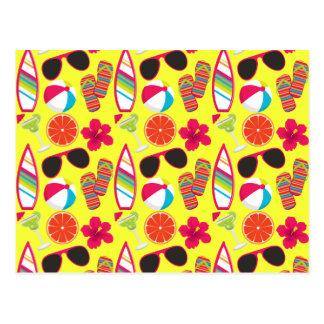 Beach Party Flip Flops Sunglasses BeachBall Yellow Postcard