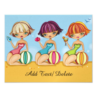 "Beach Party - Graduation - Time for the Girls 4.25"" X 5.5"" Invitation Card"