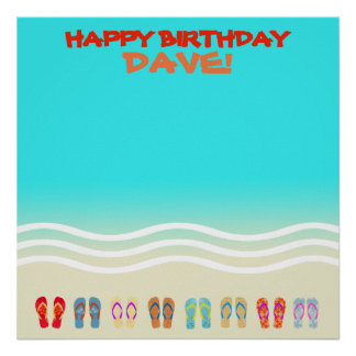 Beach Party Happy Birthday Autograph Poster