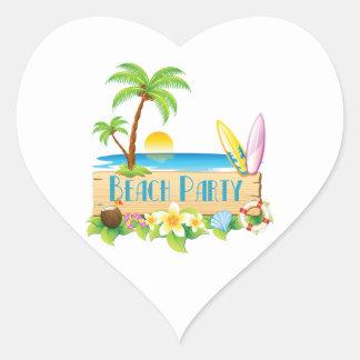 Beach Party Heart Sticker