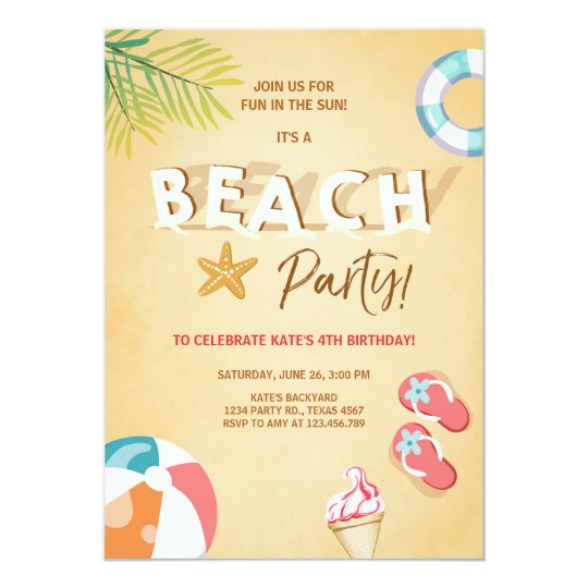 Beach Party Invitation Beach Birthday BBQ Summer