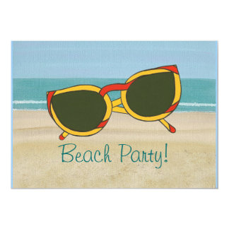 "Beach Party Invitations, sand ocean & sunglasses 5"" X 7"" Invitation Card"