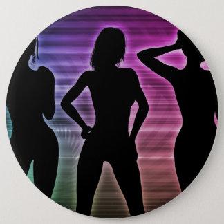 Beach Party Silhouette of Women Standing in Bikini 6 Inch Round Button
