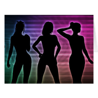 Beach Party Silhouette of Women Standing in Bikini Card
