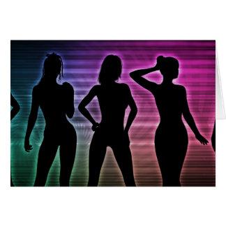 Beach Party Silhouette of Women Standing in Bikini Card