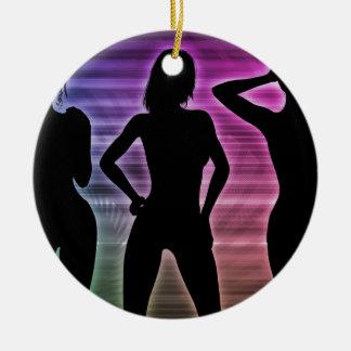 Beach Party Silhouette of Women Standing in Bikini Ceramic Ornament