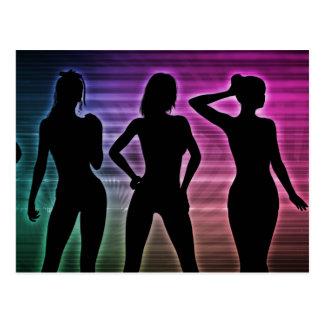Beach Party Silhouette of Women Standing in Bikini Postcard