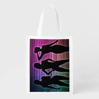 Beach Party Silhouette of Women Standing in Bikini Reusable Grocery Bag