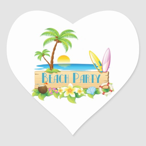 Beach Party Heart Stickers