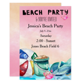Beach Party Watercolor Card