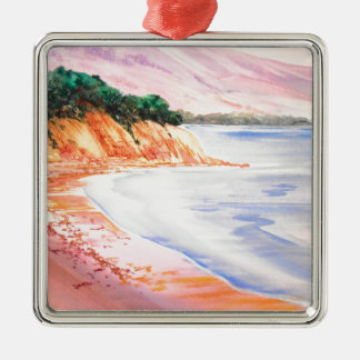 Beach, Pastel and Watercolor Metal Ornament