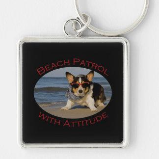 Beach Patrol with Attitude Silver-Colored Square Keychain