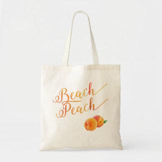 Beach Peach Tropical Fruit Tote Bag
