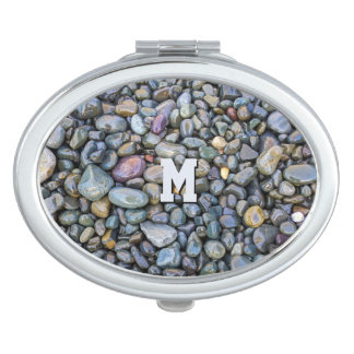 Beach Pebbles custom monogram pocket mirrors
