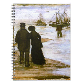 Beach People Walking & Boats Van Gogh Fine Art Notebook