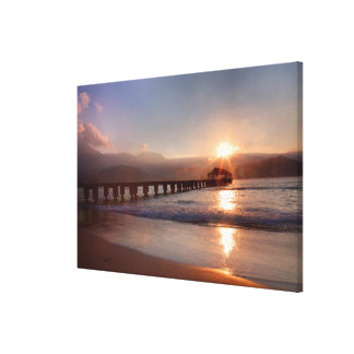 Beach pier at sunset, Hawaii Canvas Print