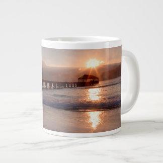 Beach pier at sunset, Hawaii Giant Coffee Mug