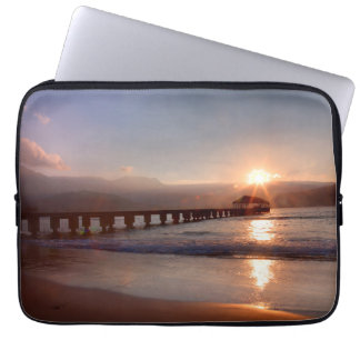 Beach pier at sunset, Hawaii Laptop Computer Sleeves