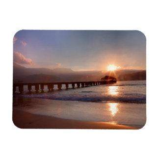 Beach pier at sunset, Hawaii Magnet