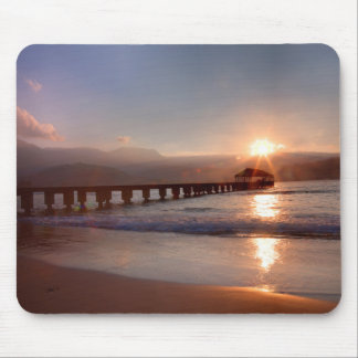 Beach pier at sunset, Hawaii Mouse Pad