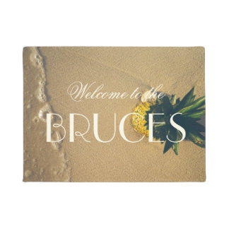 Beach Pineapple Tropical Accent Personalized Doormat