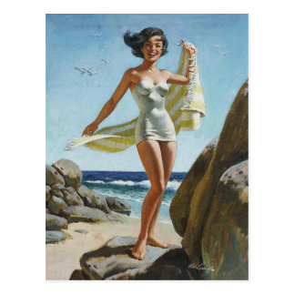 Beach PinUp Postcard