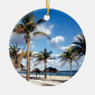 Beach Playas Cuba Round Ceramic Ornament