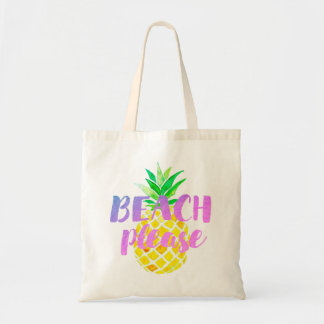 beach please calligraphy on watercolor pineapple tote bag