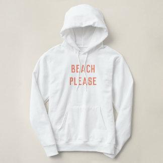 Beach Please Hoodie Surfer Girl White Pink