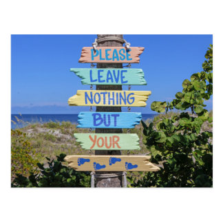 Beach, Please Leave Nothing But Your Footprints Postcard