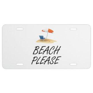 Beach Please License Plate