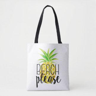 Beach Please Pineapple Watercolor Tote Bag