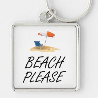 Beach Please Silver-Colored Square Keychain
