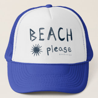 BEACH PLEASE Watercolor Beachy Quote Trucker Hat