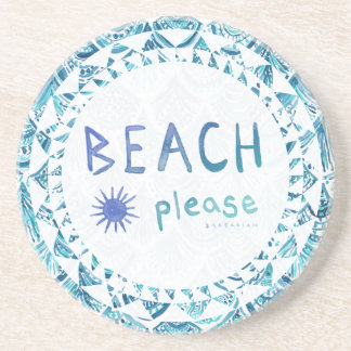 BEACH PLEASE Watercolor Funny Quote *Ombre* Beverage Coaster