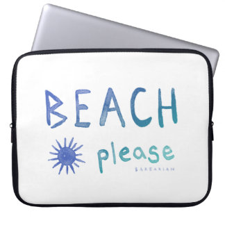 BEACH PLEASE Watercolor Quote *Ombre* Laptop Sleeve