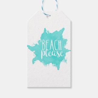 Beach Please White Gift Tags
