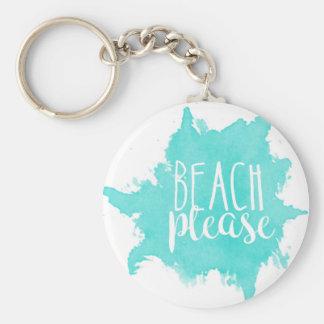 Beach Please White Keychain