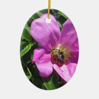 Beach Plum Rose with Bee Ceramic Oval Ornament