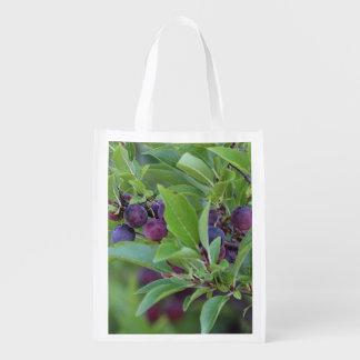 Beach plums reusable grocery bag