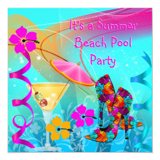 "Beach Pool Party Summer Hot Pink Teal 5.25"" Square Invitation Card"